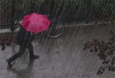 man med rosa paraply
