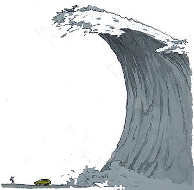 Tsunami. Illustration och copyright: Ulf Ragnarsson